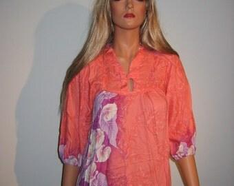 Groovy 70's Summer lounge Dress. Muumuu by McInerny  Vintage  Hippie.  Peach lavender Hawaiian print. New old stock.
