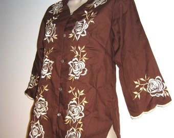 "BOHO Hippie Embroidered Tunic top. 1970's.  Brown blouse with White & Tan embroidery. ""Caro of Honolulu""."