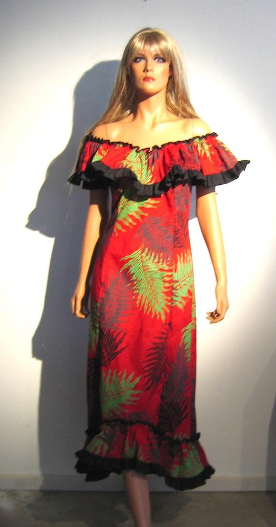 80 S Hawaiian Hula Mermaid Dress Vintage Sexy Hawaiian