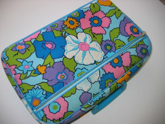 Vintage Flower Power Luggage, Suitcase.  Mod, pop, Mid century, Danish Modern, Eames Panton era.