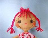 Cloth Art Doll - Rag Doll - Raggedy - Cherry Bomb