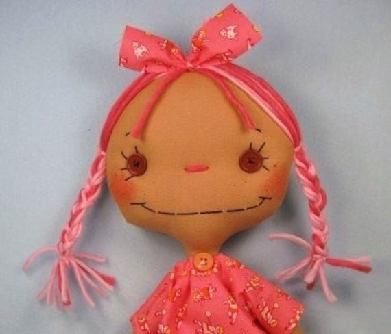 RESERVED Cloth Art Doll - Rag Doll - Pink Grapefruit