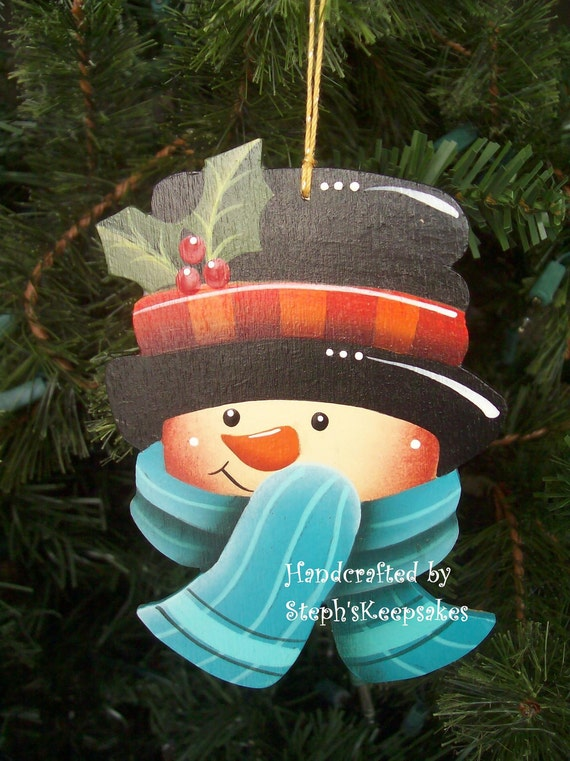 items similar to wooden hand painted snowman ornament on etsy. Black Bedroom Furniture Sets. Home Design Ideas