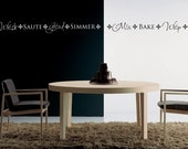 Kitchen Border Vinyl Decal - Whisk Saute Grid Simmer -1413