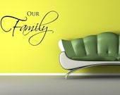 Vinyl Lettering Wall Decal - Our family - 1119