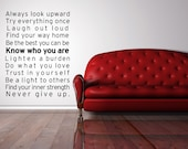 Vinyl Lettering Decal - SUBWAY ART  - Be Yourself - size 17 x 23 inches - 1629