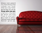 Vinyl Lettering Decal  - SUBWAY ART -Be Yourself  large size 23 x 30 inches - 1629B