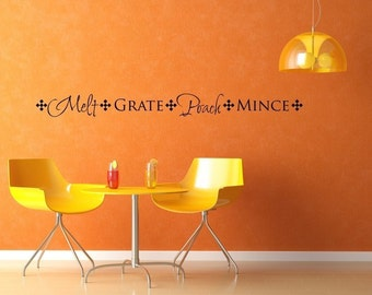 Vinyl Lettering Wall Decal - - Kitchen Border - Melt Grate Poach Mince - 1415