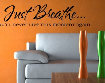 1621 - Just Breathe, you'll never live this moment again.-Vinyl Lettering