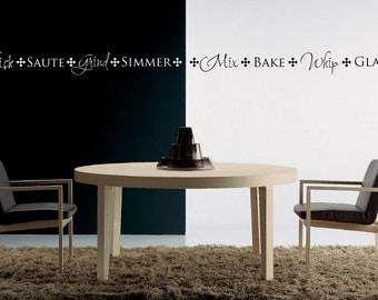 Vinyl Lettering Kitchen Border - Mix  Bake  Whip  Glaze -1414