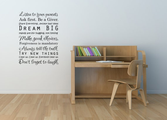 Vinyl Lettering Decal - SUBWAY ART  - New - Dream Big Family rules-size 17 x 23 inches - 1314