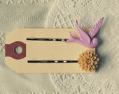 Bird and Flower Hairpin Duo in Pastel Purple and Almond Brown