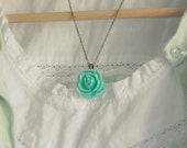 Single Rose Necklace in Bright Seafoam