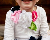 Floral Bib can be worn as Necklace, belt, or hair band from handmade fabric flowers