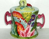 Tracy Porter SUGAR BOWL , flowers, hand painted, never used, olive green, turquoise, pink, orange rose, barn red, lime green