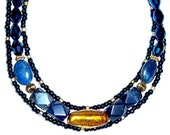 "MURANO glass EGYPTIAN inspired TRIPLE strand 18"" necklace, royal blue and gold with lapiz lazuli"