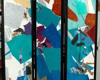 "FOLDING SCREEN-Collage-Painting-one of a kind original art-70"" high x 52"" wide,shoji screen,paper,canvas,aqua,bronze,rust,gold,black,blue"