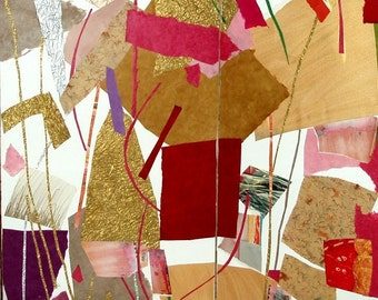 "FOLDING SCREEN- collage- painting- 35"" high x 58"" wide- ""The Seasons-Winter/Spring"""