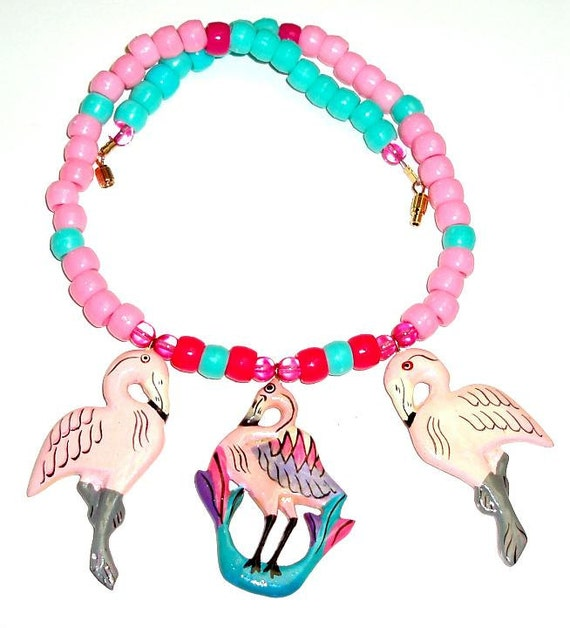 FLORIDA FLAMINGO FUN necklace with 3 handpainted wooden Indonesian pendants, bubble gum colors pink and aqua
