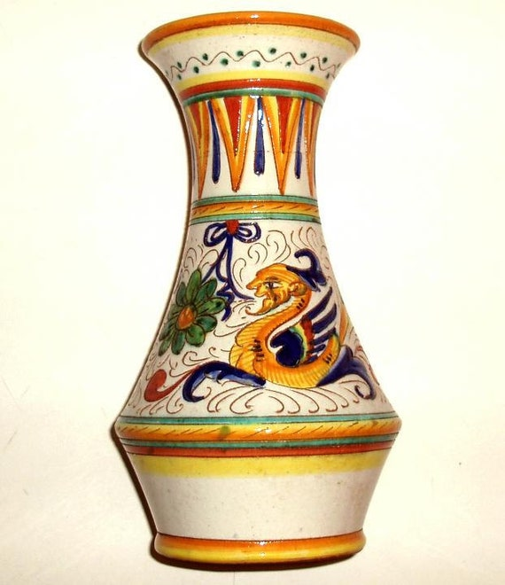 "VINTAGE DERUTA VASE-Italian Art Pottery-Raffaellesco 10"" high ceramic-hand made-hand painted"