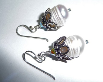Sterling Silver Pearl and Swarovski  Earrings on Etsy on Etsy