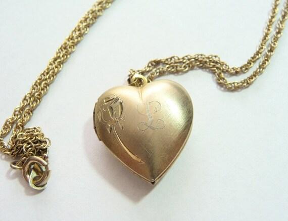 Vintage Gold Filled Heart Locket Initial L on Etsy