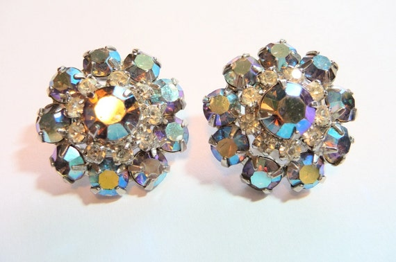 Vintage Kramer Rhinestone Bling Earrings on Etsy