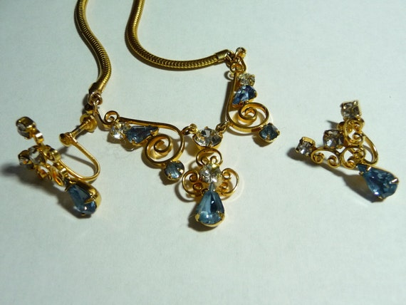 Vintage Leo Glass Rhinestone Necklace and Earrings Set on Etsy