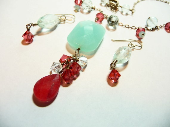 Sterling Silver Strawberry Quartz Chalcedony and Swarovski Necklace and Earrings Set on Etsy