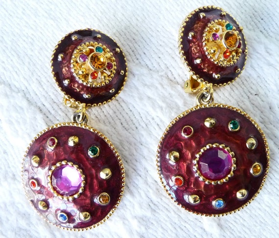 Reserved for Ivancy Vintage 1980s Rhinestone Enameled Clip Earrings on Etsy
