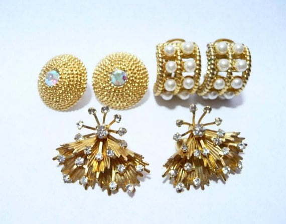 Three Pairs of Vintage Rhinestone Earrings Lot on Etsy