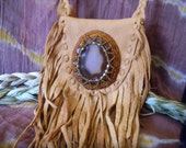 Agate Beaded Leather Bag