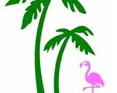 Flamingo under a Palm Tree Vinyl Decal Sticker