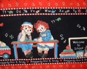 """Fabric Cotton Raggedy Ann/Andy School Border Print Daisy Kingdom - 1 yard & 23"""" piece - LAST Piece"""
