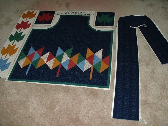 Cotton Fabric Apron Panel Autumn Leaves Adult Size  - Price Reduction d/t missing ties - LAST One