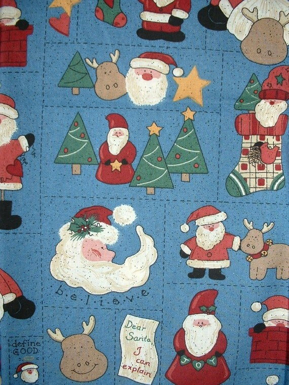 Cotton Fabric Christmas Santa, Trees, Reindeer, Stockings - LAST Yard