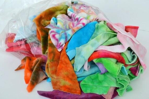 Fabric Scraps - 1 Pound Hand Dyed Organic Bamboo Velour