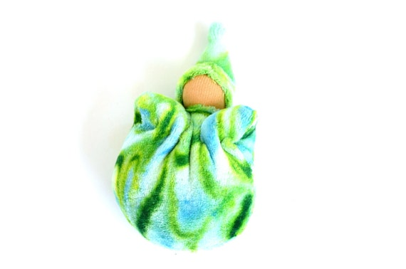 Pocket Gnome - Waldorf - Marbled Green and Blue