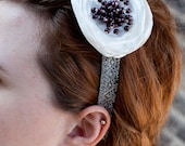 Silver headband with a beautiful bead center flower