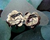 Vintage Silver Leaf Clip Earrings
