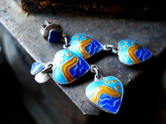 Vintage Blue and Orange Enamel Ocean Wave Heart Pierced Earrings
