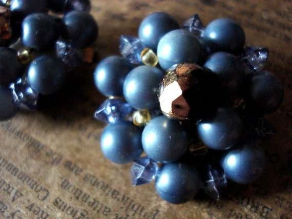 Vintage Blue Pearl and Copper Bead Clip on Earrings W.Germany