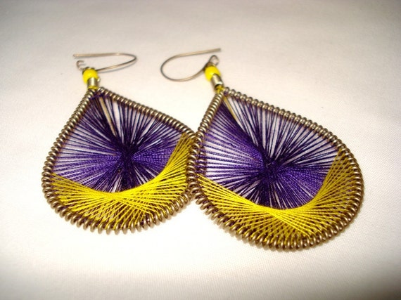 Retro String Art Teardrop Coil Earrings  Woven with Purple and Yellow FREE SHIPPING USA ON ALL STRING ART EARRINGS