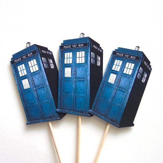 Dr. Who Tardis Cupcake Toppers - Set of 12 Picks