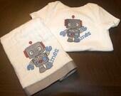 Robot bodysuit and burp cloth set