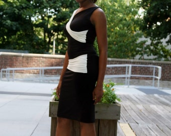 Asymmetrical Ruched Classic Black/Off-white Jersey Dress