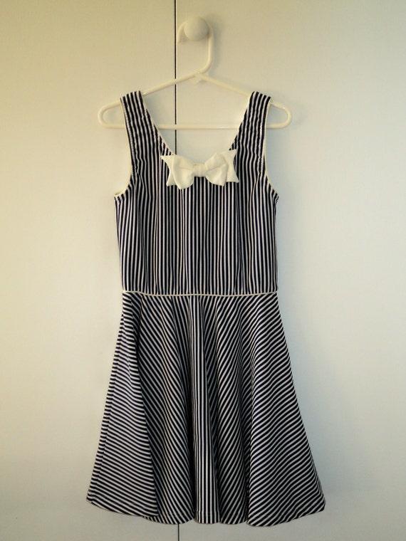 Nautical Navy Blue Striped Dress- Girls size 10