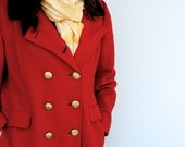 Vintage Red Wool Coat DISCOUNTED DUE TO FAIR CONDITION