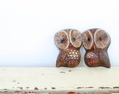 Vintage Owl Wall Hangings, Set of Two