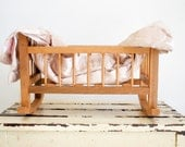 Antique Wooden Bassinet for Dolly / Pretend Play / Photo Prop